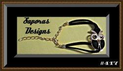 Handmade Black Leather Owl Design Bracelet