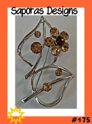 Silver Tone Flower Design Brooch With Brown Crystals