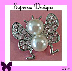 Silver Tone Butterfly Design Brooch With Clear Crystals & White Faux Pearls