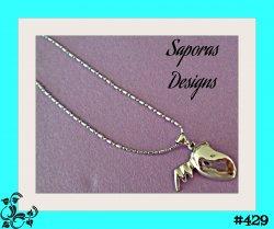 18KRP Half Heart & Angel Wing Design Necklace