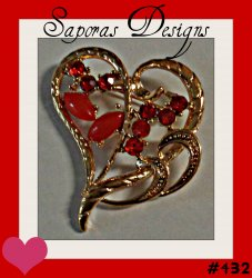 Gold Tone Heart Design Brooch With Red Crystals & Red Beads
