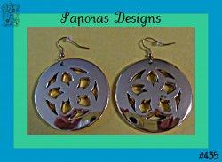 Gold Tone Round Circle Flower Design Dangle Earrings