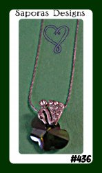 18KRP Swan / Butterfly Design Necklace With Green & Clear Crystals