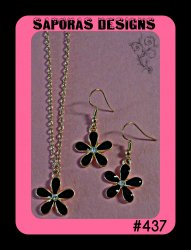 Gold Tone & Black Flower Design Dangle Earring & Necklace Jewelry Set
