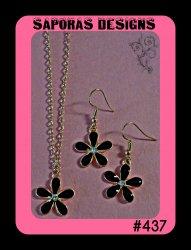 Gold Tone & Black Flower Design Dangle Earring & Necklace Jewelry Set