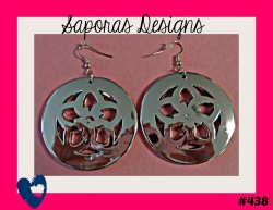 Silver Tone Dangle Round Circle Flower Design Earrings