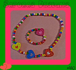 Handmade Colorful Wood Bracelet With Beads & Hearts Necklace & Bracelet Set
