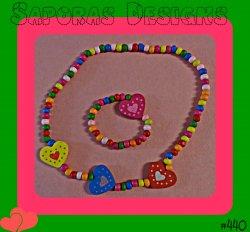 Handmade Colorful Wood Bracelet With Beads & Hearts Necklace & Bracelet Set