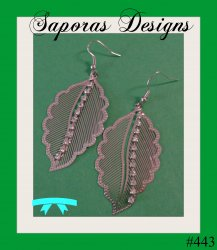 Silver Tone Leaf Design Dangle Earrings With Clear Crystals