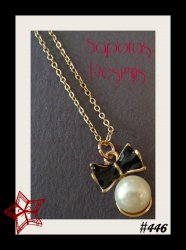 Black Bow Design Necklace With White Faux Pearl & Gold Tone Finish