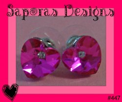 Heart Design Stud Earrings With Pink & Clear Crystals