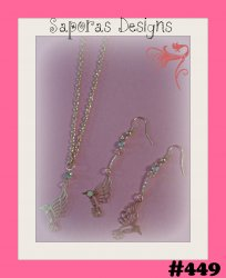 Gold Tone Hummingbird Design Dangle Earrings & Necklace Jewelry Set