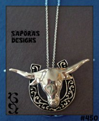 925 Sterling Silver Horse Shoe / Bull Design Necklace For Luck