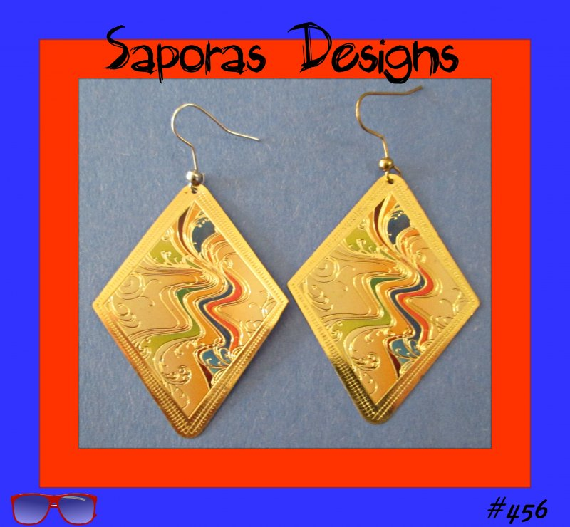 Image 0 of Colorful Diamond Shaped Dangle Earrings With A River Design