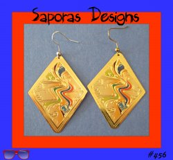 Colorful Diamond Shaped Dangle Earrings With A River Design