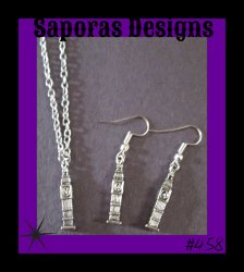 Silver Tone New York City NYC Clock Design Dangle Earrings & Necklace Set