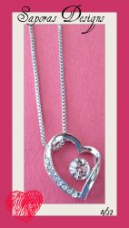 18KRP Heart Design Necklace With Clear Crystals