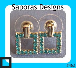 18KRP Square Design Stud Earrings With Blue Crystals