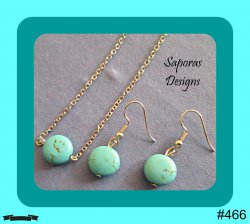 Silver Tone & Turquoise Dangle Earrings & Necklace Jewelry Set Native Ethnic
