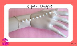 Gold Tone Slave Bracelet With White Faux Pearls