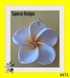 Hawaiian Design Flower Necklace Charm White & Yellow With Clear Crystal