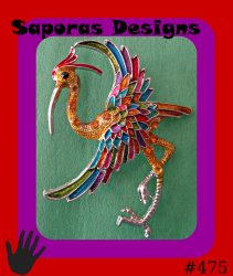 Colorful Crane Bird Design Brooch With Black & Orange Crystals