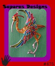 Colorful Crane Bird Design Brooch With Black & Orange Crystals