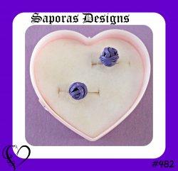 Purple Love Knot Design Stud Earrings