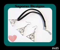 Harry Potter Deathly Hallows Leather Choker Necklace & Dangle Earrings Set