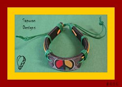 Handmade Colorful Leather Peace Sign Bracelet Bob Marley Style