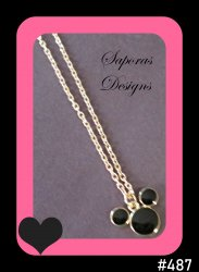 Gold Tone & Black Disney Mickey Mouse Design Necklace