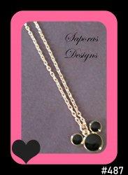 Gold Tone & Black Disney Mickey Mouse Design Necklace