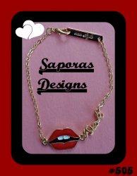 Gold Tone Sexy Lips / Love Bracelet