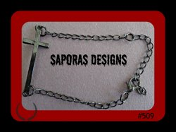 Black Chain Bracelet With Cross Design Biker Gothic Punk Rock Religious Style