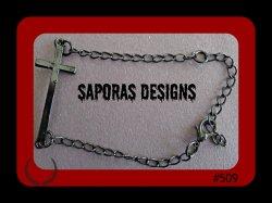 Black Chain Bracelet With Cross Design Biker Gothic Punk Rock Religious Style