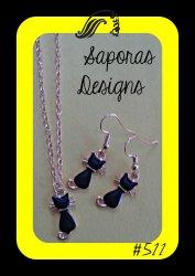 Gold & Black In Color Cat / Kitten Dangle Earrings & Necklace Jewelry Set