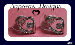 18KRP Heart Design Stud Earrings With Clear Crystals