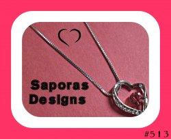 18KRP July Crystal Color Birthstone Heart Design Necklace