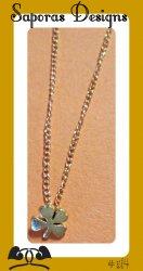 Gold Tone Four Leaf Clover Design Necklace For Good Luck