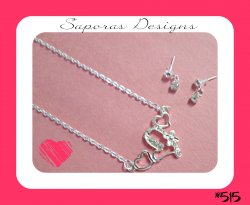 Silver Tone Heart Design Necklace & Dangle Earring Jewelry Set
