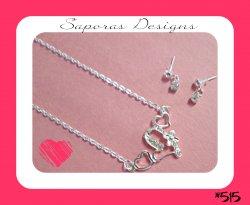 Silver Tone Heart Design Necklace & Dangle Earring Jewelry Set