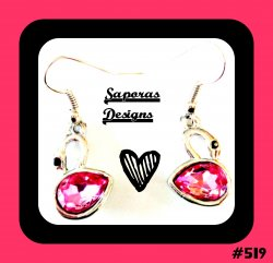 Silver Tone Swan Design Dangle Earrings With Black & Pink Crystals