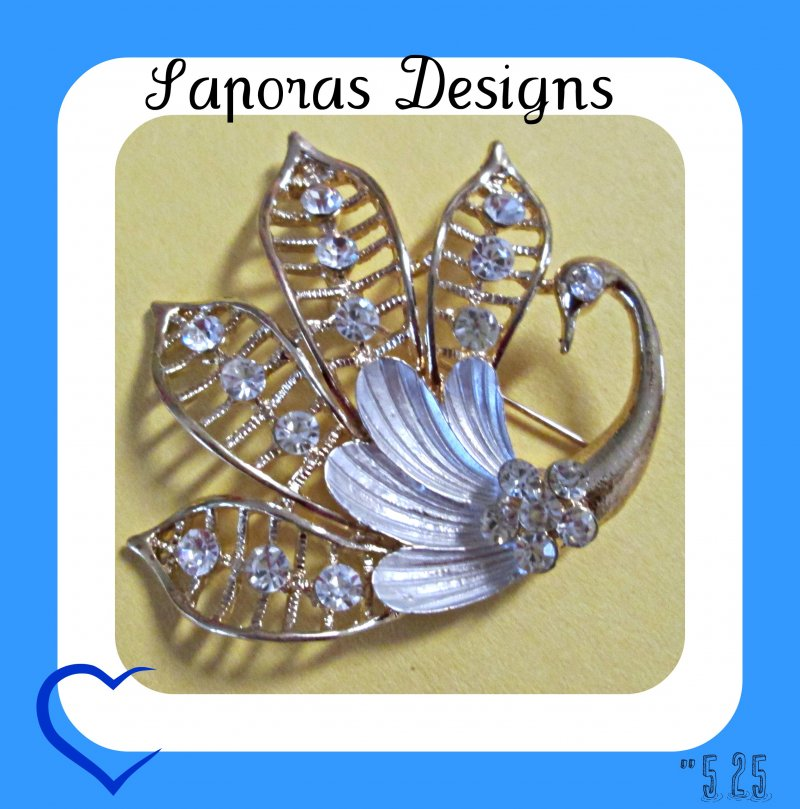 Image 0 of Gold Tone & White Swan Design Brooch With Clear Crystals