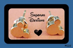 Gold Plated Disney Mickey Mouse Design Stud Earrings