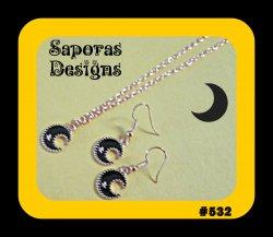 Gold Tone & Black Moon/Star Design Dangle Earrings & Necklace Jewelry Set