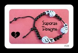 Handmade Black & White Beaded Skull Bracelet Gothic Punk Rock Unisex