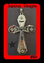 Silver Tone Cross Design Charm For Necklace With Clear Crystals