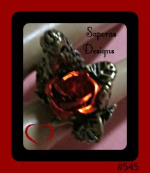 Antique Eagle With Red Rose Design Ring Size 5 Biker Gothic Punk Rock Style