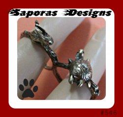 Antique Double Finger Ring Rabbit & Turtle Design Size 7 & 8