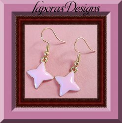 Pink Star Design Dangle Earrings With Gold Tone Finish